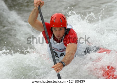 CHARLOTTE - APRIL 27: James Cartwright of Canada competes in the Olympic Team Trials for Whitewater Slalom at the U.S. National Whitewater Center on April 27, 2008 in Charlotte, NC.