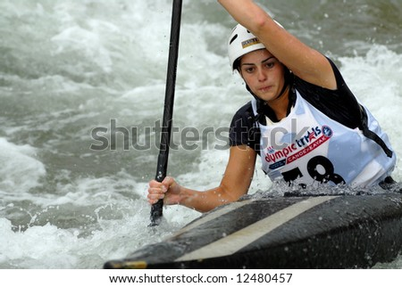 CHARLOTTE - APRIL 27: Kathleen Tayler of Canada competes in the Olympic Team Trials for Whitewater Slalom at the U.S. National Whitewater Center on April 27, 2008 in Charlotte, NC.