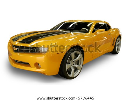 CHARLOTTE, NC - APRIL 6, 2008: Lowes Motor Speedway. 2007 Chevy Camaro - From the movie Transformers - Autobot Bumble Bee at Lowes Motor Speedway, April 6, 2008 in Charlotte, North Carolina.