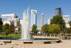 Charlotte, North Carolina skyline as seen from Marshall Park