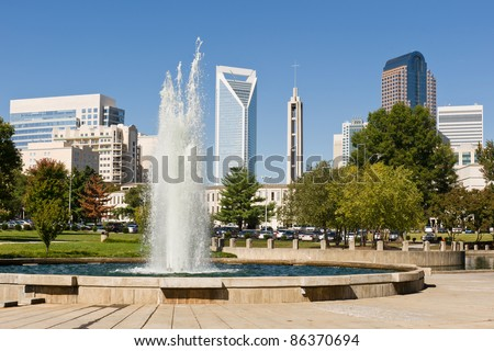Charlotte, North Carolina skyline as seen from Marshall Park