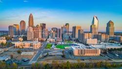 Charlotte, North Carolina, USA Drone Skyline Aerial.