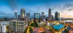 Charlotte, North Carolina, USA uptown cityscape at twilight.
