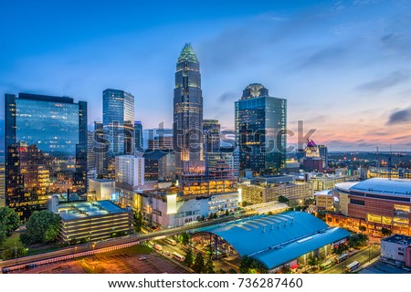 Charlotte, North Carolina, USA uptown skyline.
