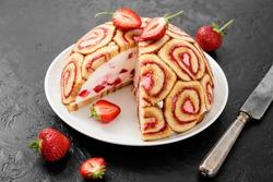 Charlotte Royale Cake with fresh strawberry.