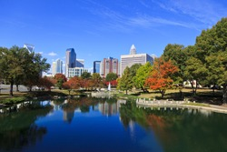 Charlotte skyline from Marshall Park in the fall.  The new Skye condos are in the middle.