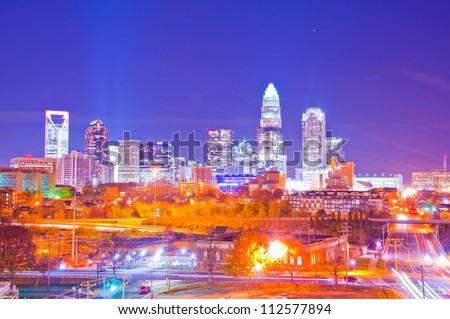 charlotte the queen city skyline in the evening