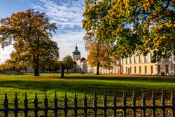 Charlottenburg Palace Berlin in autumn. The baroque palace was built from the end of 17th century and is named after Sophie Charlotte. Badly damaged during second  World War, reconstructed in 1957.