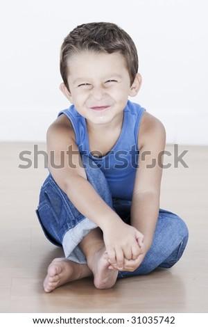charming and expresiive child portrait studio isolated backgroun Imagine de stoc ©