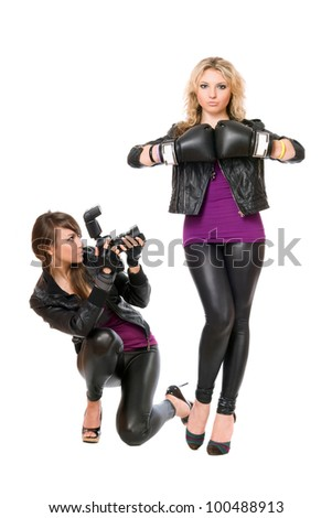 Charming blond and brunette with the camera