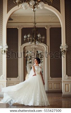 Stock Photo Charming bride is turning around under the beautiful arch