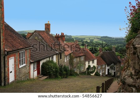 Charming British Village overlooking countryside.