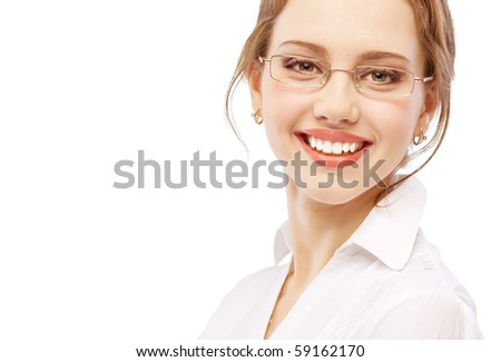 Charming business woman smiles, isolated on white background.