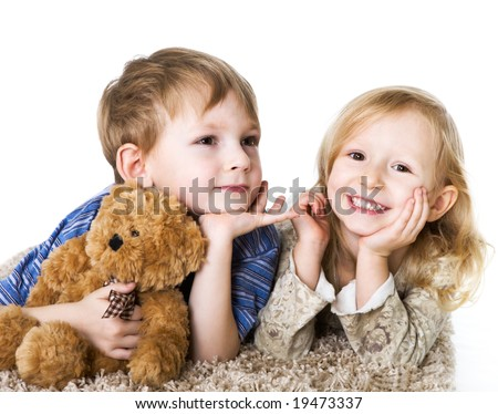 stock photo : Charming couple of children