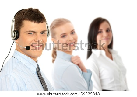 Charming customer service representative with headset on isolated on white background - stock photo