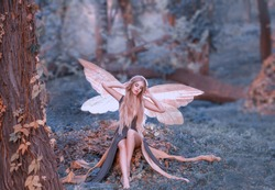 charming fairy woke up in forest, sweetly smacks after sleeping, cue girl with blond hair, eyes closed in long green dress with cut train, deep decolte, baby spirits with transparent butterfly wings.