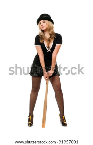 Charming girl with a bat in their hands