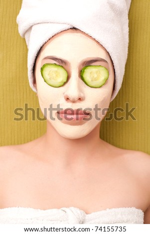 Charming girl with mask on her face