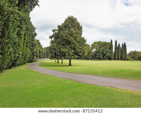 Charming green glade in a park-garden Sigurta in northern Italy.