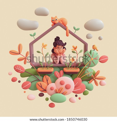 Charming kawaii brunette girl leans on the windowsill, resting her chin on her hands, looks out at yellow bird. Floating balcony with orange cat, green red leaves bushes. 3d render on beige backdrop