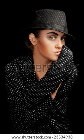 Charming Lady from Chicago 30's with Mysterious Look - stock photo