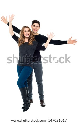 Charming love couple having fun together