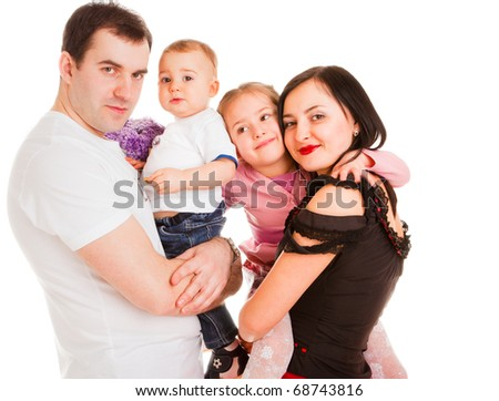 charming married couple with two children