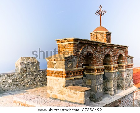 Charming monastery bell-tower situated in Greek island of Lesbos (Aegean sea). Monastery, called Ypsilou, boasts its wonderful collection of sacral, Orthodox art.