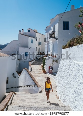 Charming narrow historic streets of white village Frigiliana in Malaga province,Andalusia,Spain Stock fotó ©