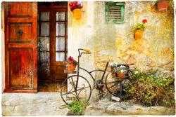 charming street in Valdemossa village with old bike