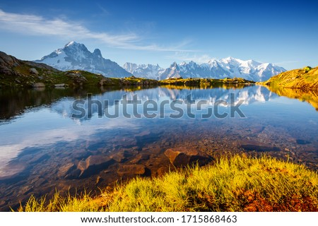 Charming summer scene of Lac Blanc on the background of Mont Blanc glacier. Location Chamonix resort, Aiguilles Rouges, Graian Alps, France, Europe. Most beautiful place. Discover the beauty of earth. Сток-фото ©