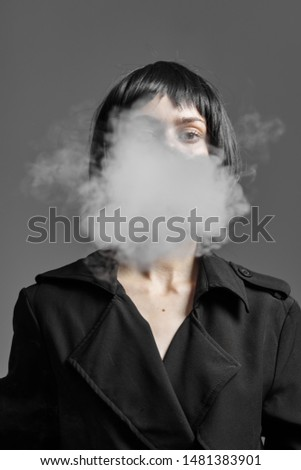Charming woman cigarette smoke elegant charm style