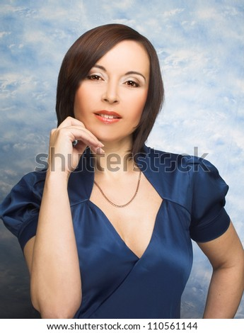 Charming woman. Portrait of woman with dark hair