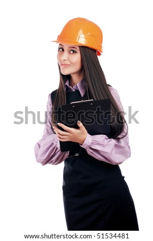 charming young businesswoman builder orange helmet is isolated on a white background