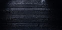 charred log background texture. burnt wood texture, Burned scratched hardwood surface. Smoking wood plank background panorama banner. Black coal texture after fire