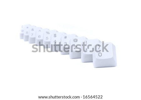 Chars and digits from 0 to 9 on computer keyboard buttons