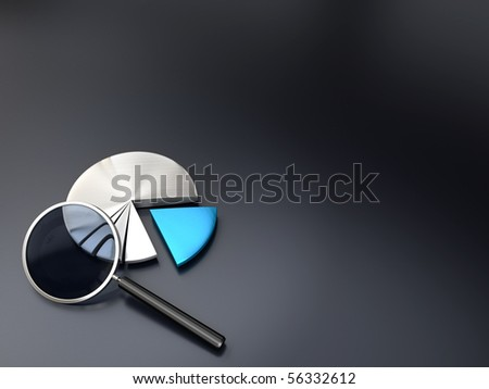 chart and magnifying glass on a dark grey background