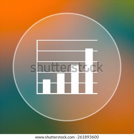 Chart bars icon. Internet button on colored  background.