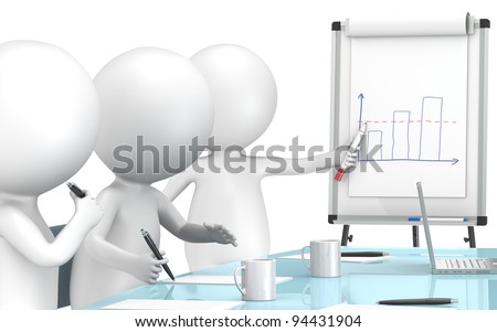Chart. 3D little human characters X3 during a Presentation on a Flip Chart. Business People series.