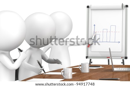 Chart. 3D little human characters X3 during a Presentation on a Flip Chart. Business People series: Classic