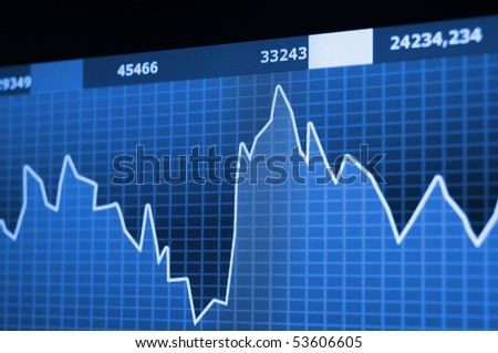 chart diagram or graph from the stock market on computer screen