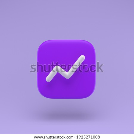 Chart icon with white line simple 3D-illustration on pastel abstract background. minimal concept. 3D-rendering Foto stock ©