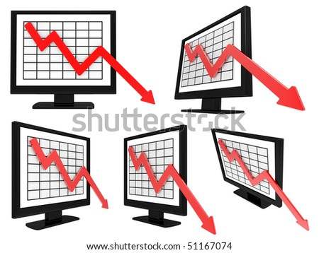 chart of decline of the business on the monitor