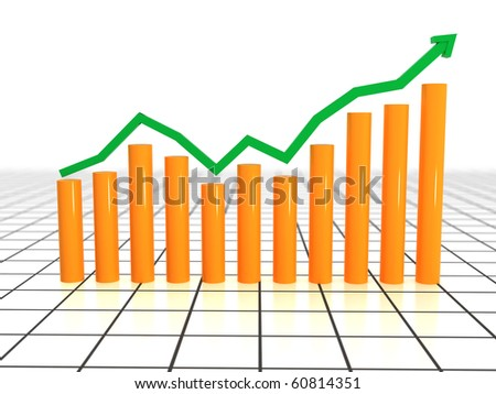 Chart of growth from yellow cylinders and green pointer