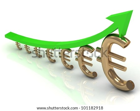 Chart the growth of the euro with the green arrow