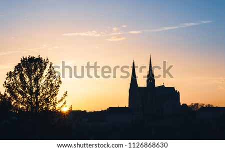 Chartres Cathedral, also called Cathedral of Our Lady of Chartres at sunset in France
