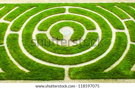 Chartres (Eure-et-Loir, Centre, France) - Circular labyrinth in a garden