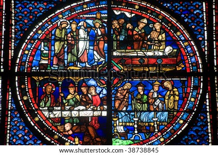 Chartres (Eure-et-Loir, Centre, France) - Interior of the cathedral in gothic style: stained glass