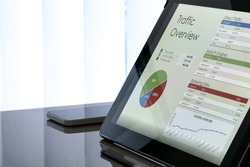 Charts and data on the tablet screen with a smartphone next to the window at the office