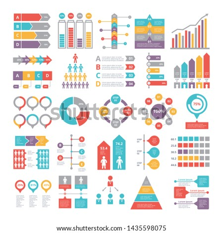 Charts, graphs and other different infographics elements for business, Colored chart and graph, infographic data, web diagram statistic illustration
